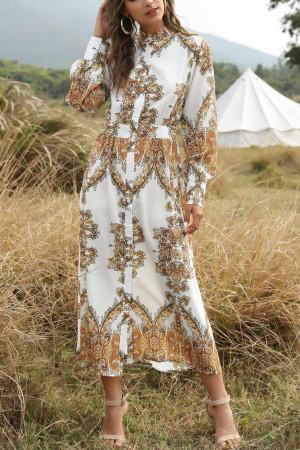Print Single Breasted Boho Dress