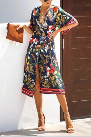 Print V-Neck Boho Dress