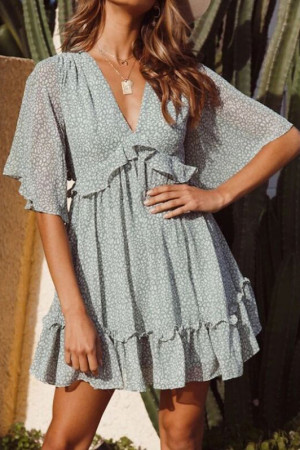 Print Cut Out Ruffled Dress