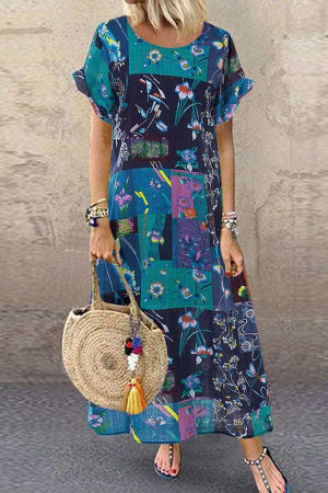Printed Plus-size Maxi Dress