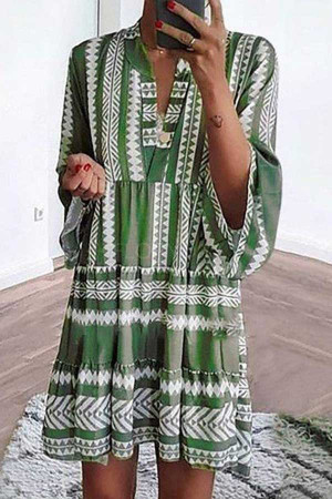 Printed Stripe Swing Dress