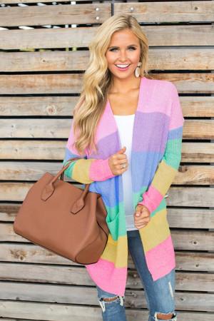 Rainbow-clashing Striped Knitwear Cardigan