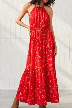 Red Backless Halter Maxi Dress