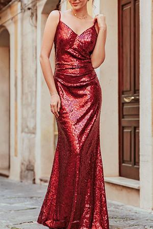 Red Spaghetti Straps Sequin Dress