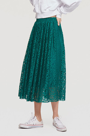 Retro Plain Lace Skirt