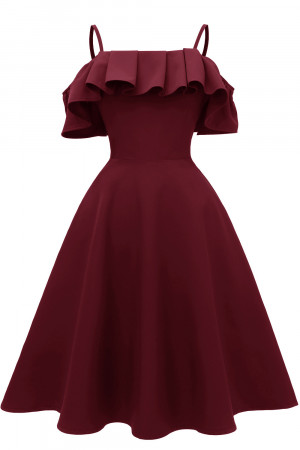 Spaghetti Straps Satin Ruffle Dress
