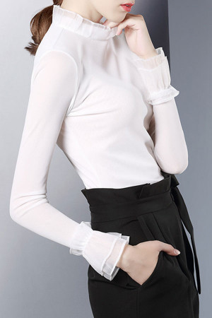 Ruffle Collar Solid Top