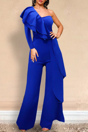 Ruffle One-Shoulder Jumpsuit