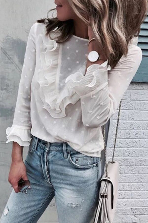 Ruffled Bell Sleeves Blouse