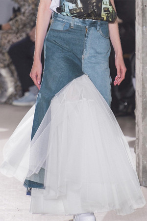 Ruffled Denim Tulle Mermaid Skirt