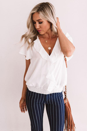 Ruffled Plain Chiffon Blouse