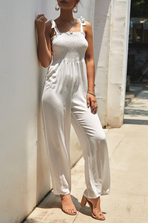 Sashes Solid Sleeveless Jumpsuit
