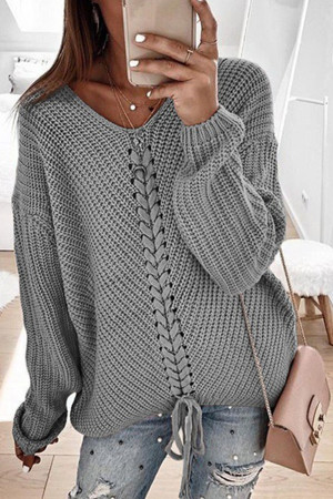 Sashes Solid V-neck Sweater