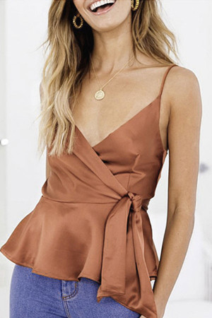 Satin Ruffled Lace-up Cami