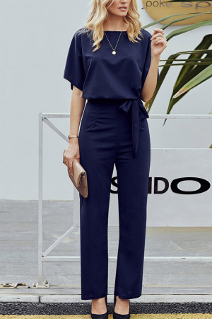 Scoop Lace-up Plain Jumpsuit