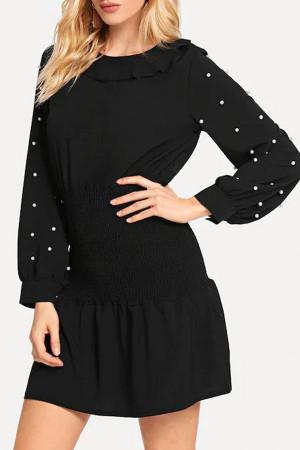 Scoop Bead Pleated Dress