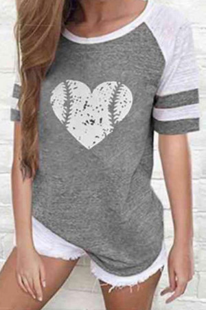 Scoop Heart Print T-shirt