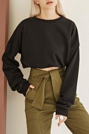 Scoop Solid Crop Sweatshirt