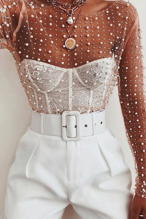 See Thru Beaded Blouse