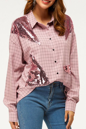 Sequin Panel Plaid Shirt