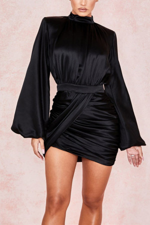 Sexy Black Lantern Sleeve Dress