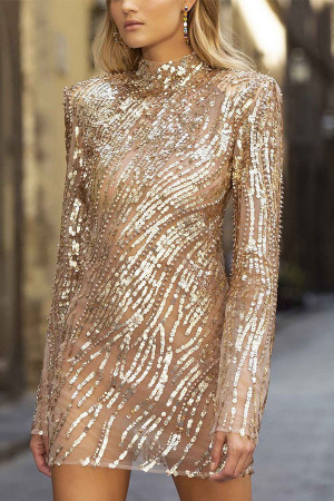 Sexy Gold Sequin Dress