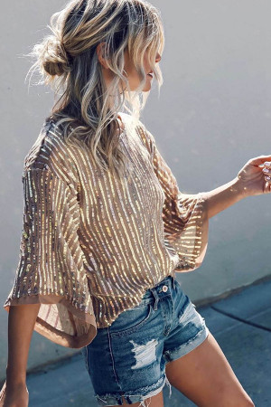 Sexy See-through Sequined Blouse