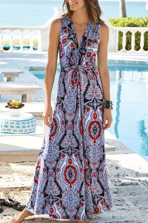 Sleeves V-Neck Print Wrap Dress