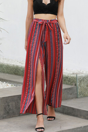 Slit Print Wide Leg Pants