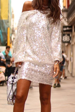 Sloping Shoulder Sequin Dress