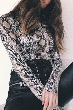 Snake Print Scoop Bodysuit