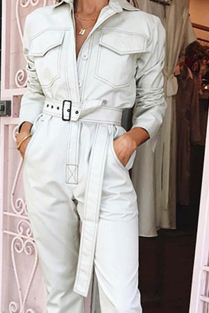Solid Belted Denim Jumpsuit