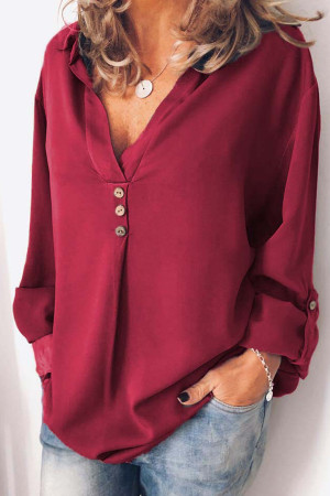 Solid Buttons V-neck Blouse