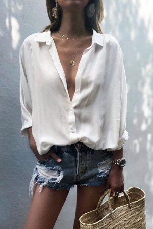 Solid Collar V-neck Blouse