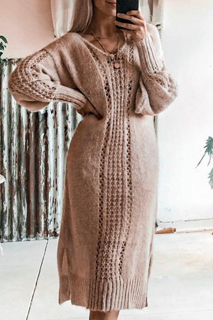 Solid Color Cutout Sweater Dress