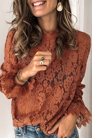 Solid Color Lace Blouse