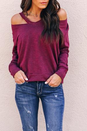 Solid Cut Out Sweatshirt