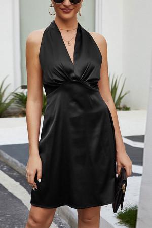 Solid Halter A-line Dress