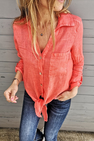 Solid Lace-Up Blouse