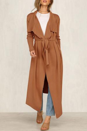 Solid Lace-up Lapel Coat