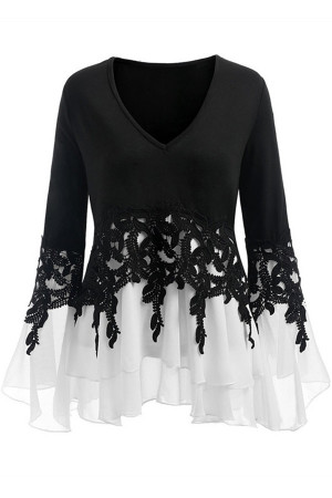 Solid Lace Chiffon V-neck Blouse
