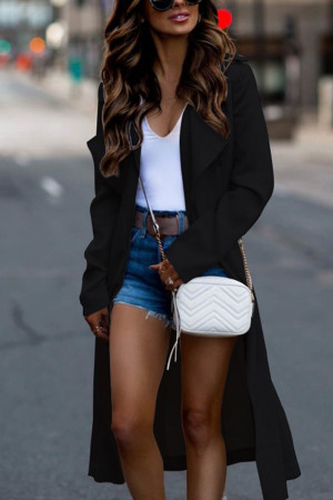 Solid Long Sleeve Coat