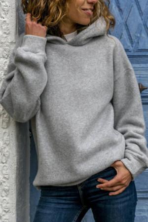Solid Long Sleeve Hoodie