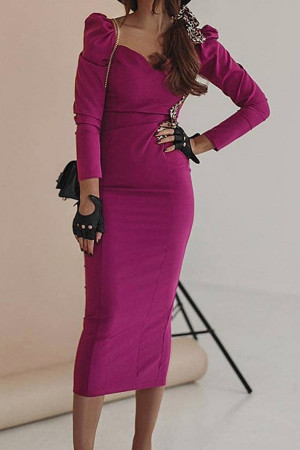 Solid Long Sleeves Dress
