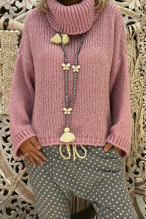 Solid Loose High Neck Sweater