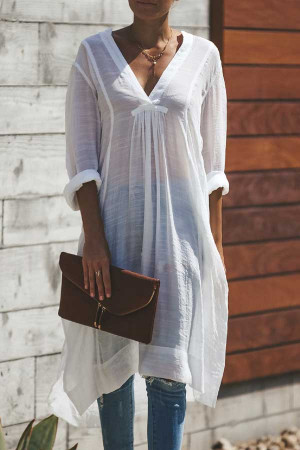 Solid Loose Sheer Dress