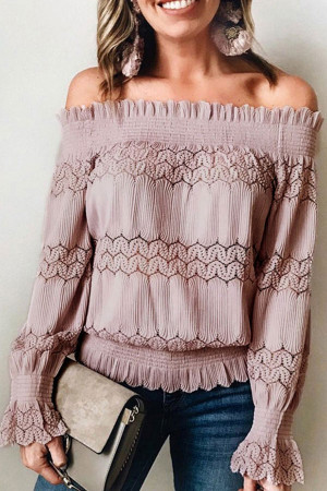 Solid Off-the-shoulder Frilled Blouse