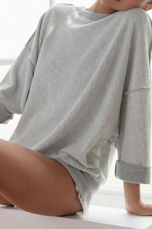 Solid Reversible Pullover Sweatshirt