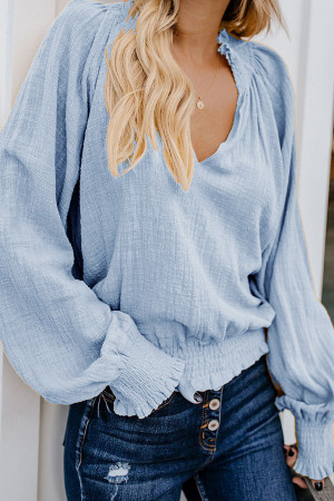 Solid Ruffled V-neck Blouse