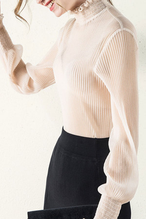 Solid Ruffles Collar Blouse